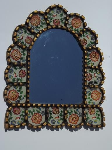 Old Mexican Folk Art Mirror Picture Frame Carved Wood Painted Glass