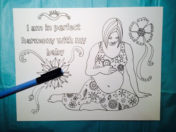 Colouring Pages Pdf For Adults : Coloring page for pregnant women birth affirmation hypnobirthing