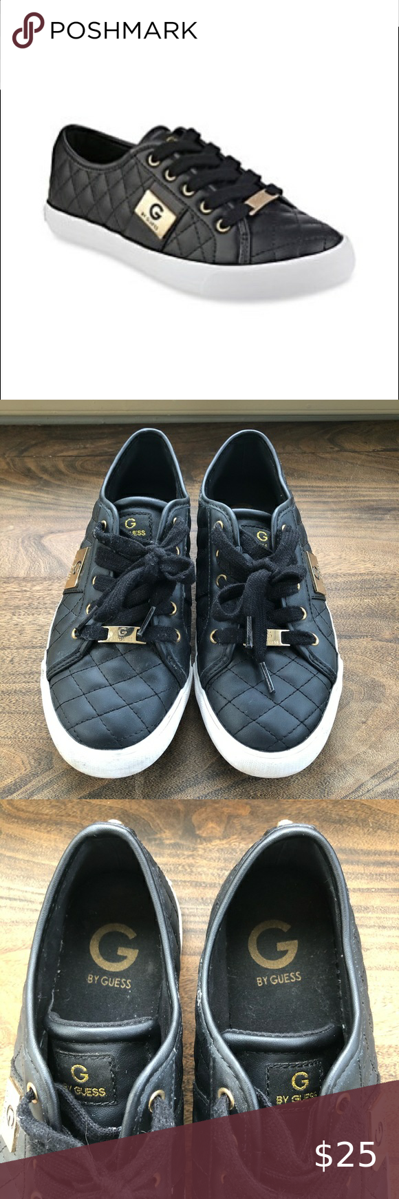 GUESS • black quilted sneakers Black