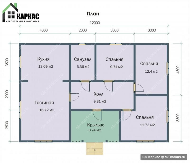 План одноэтажного дома 10 на 12   План дома, План ...