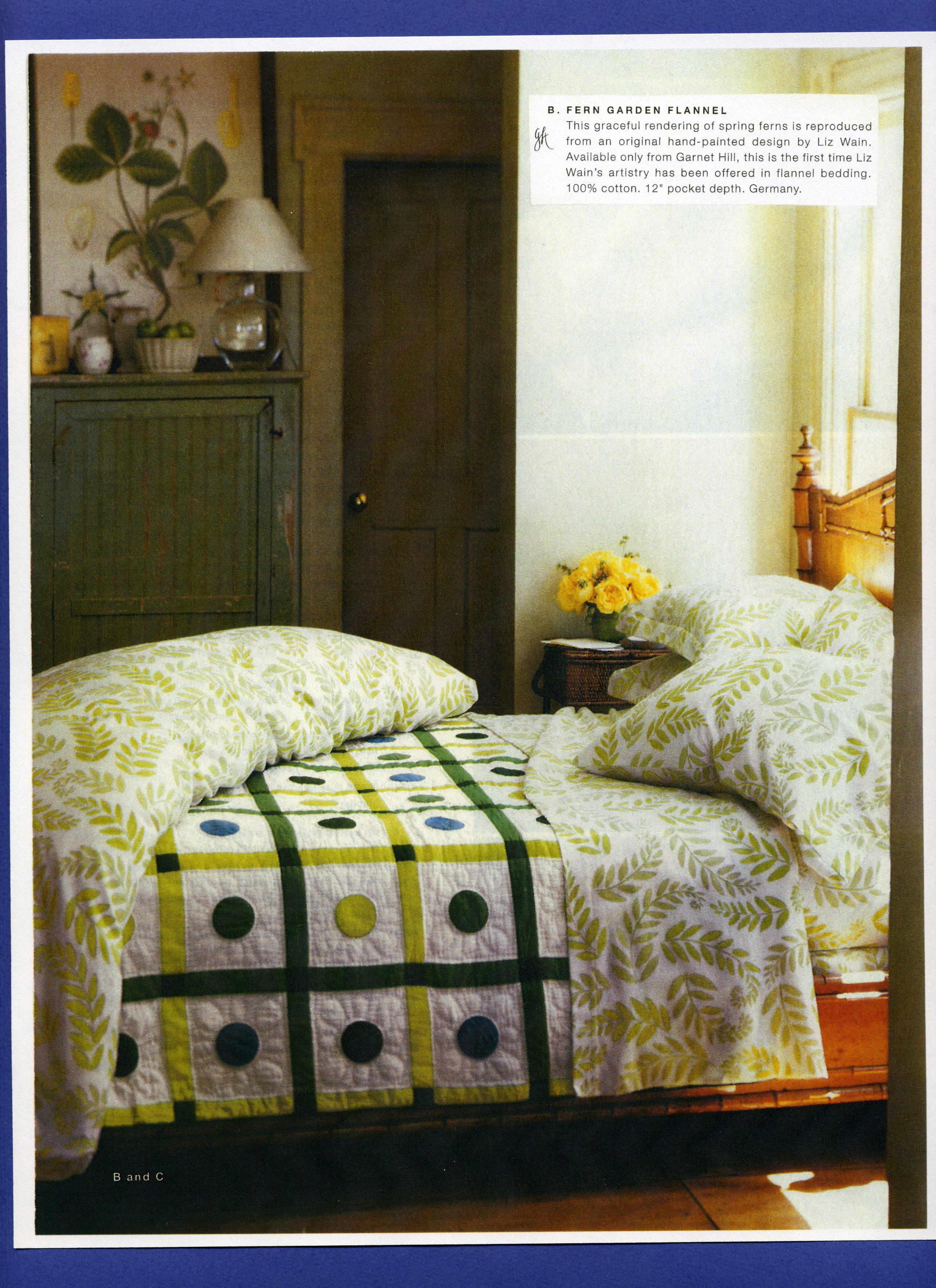 Fern flannel bedding for Hill paired with Denyse