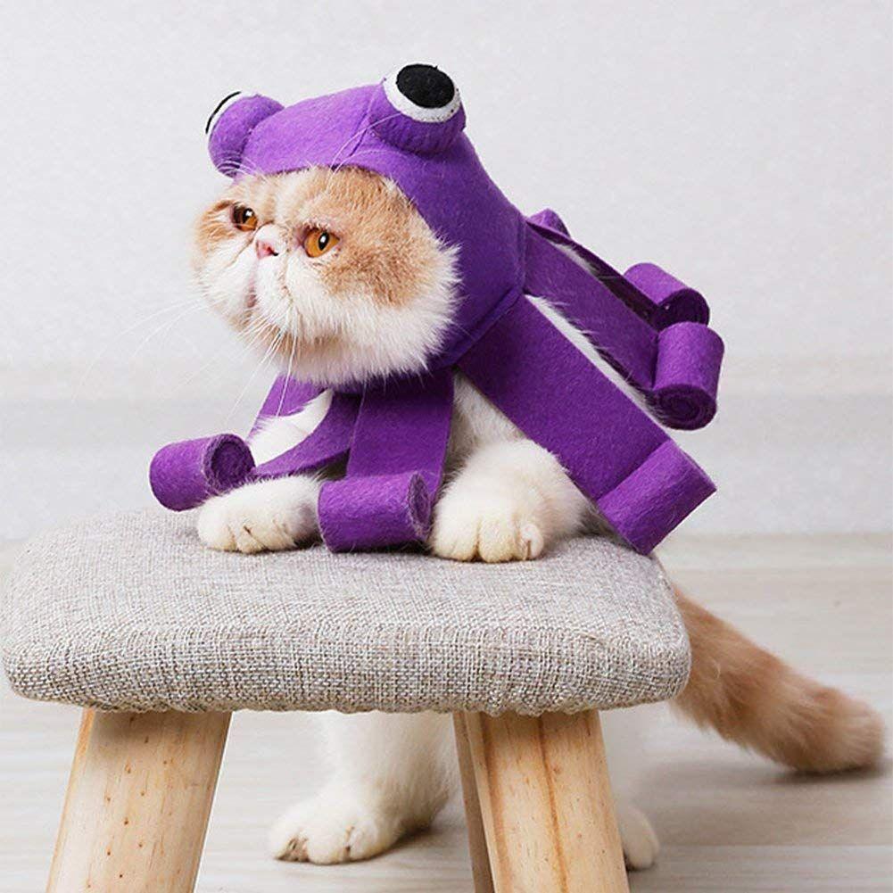 Idepet Pet Cat Costume Purple Octopus Hat Dress up for