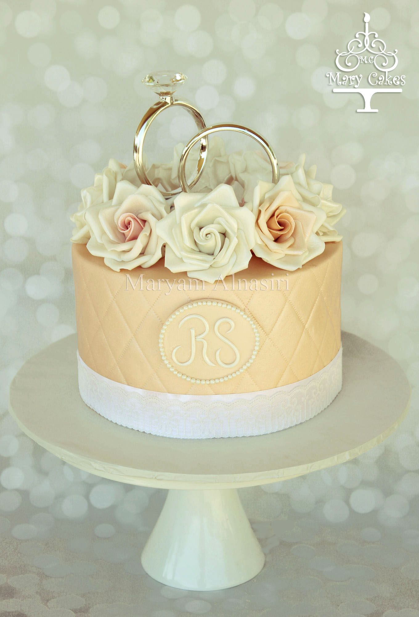 sugar roses engagement cake ,#ring topper #proposal cakes By : Mary ...