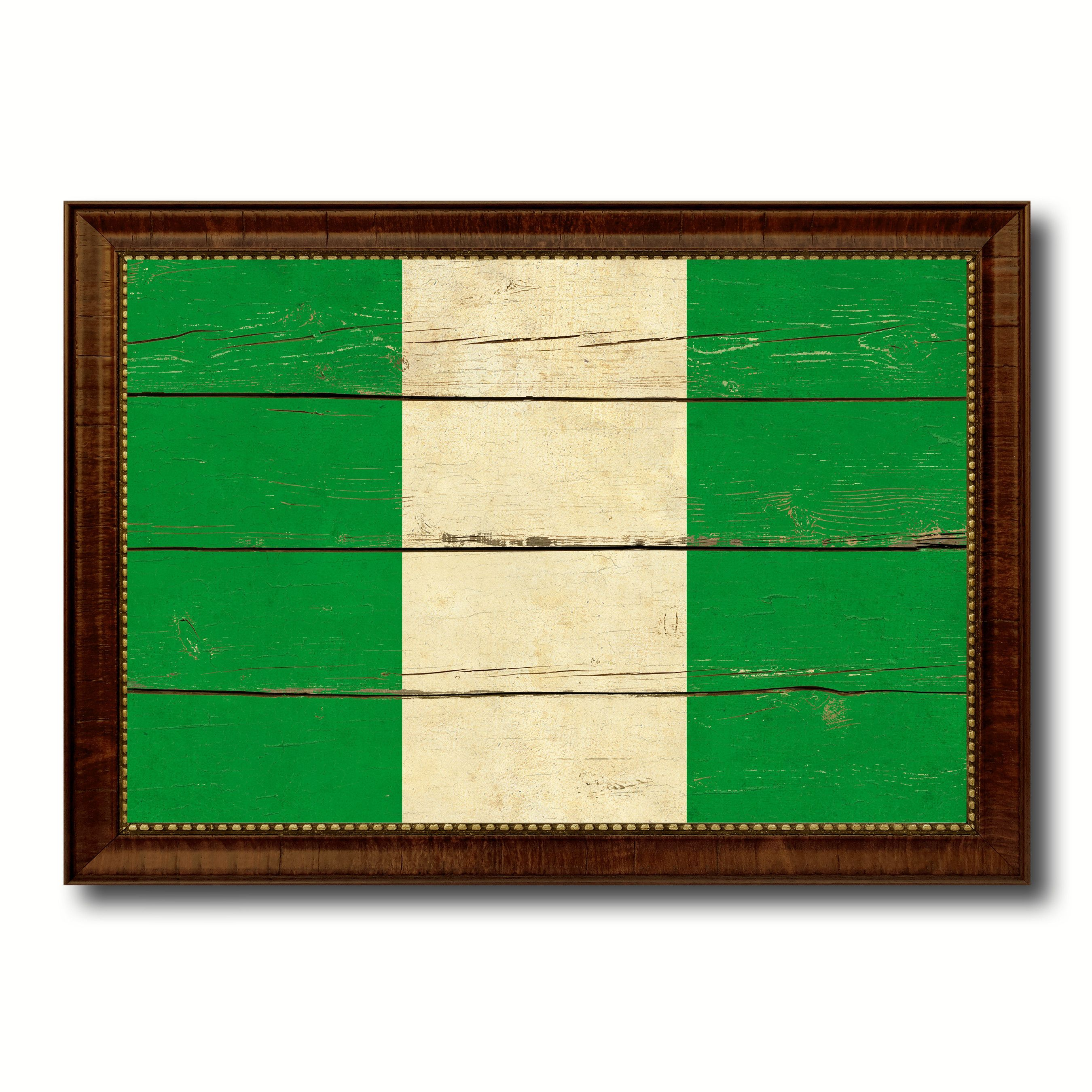 Nigeria Country Flag Vintage Canvas Print with Brown Picture Frame ...