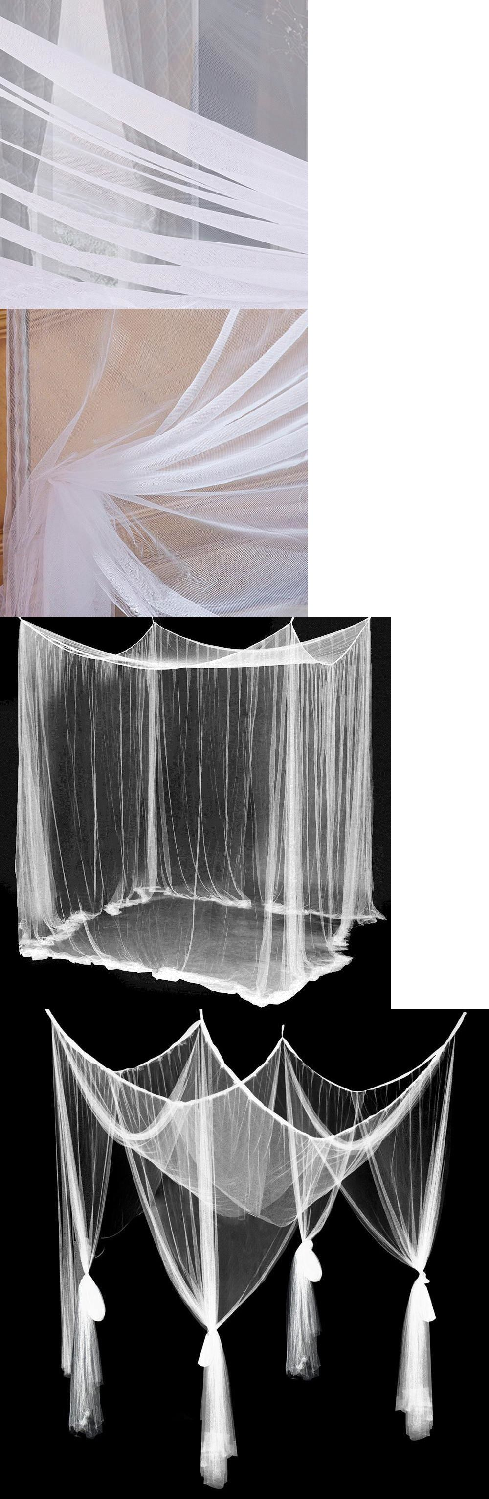 Canopies and Netting 176986 White Bed Canopy Four Corner