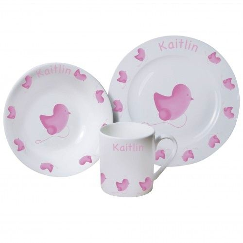 Personalised pink chick childrens breakfast set easter and gift personalised pink chick childrens breakfast set new baby gift christening gift ideas easter gifts for girls negle Gallery