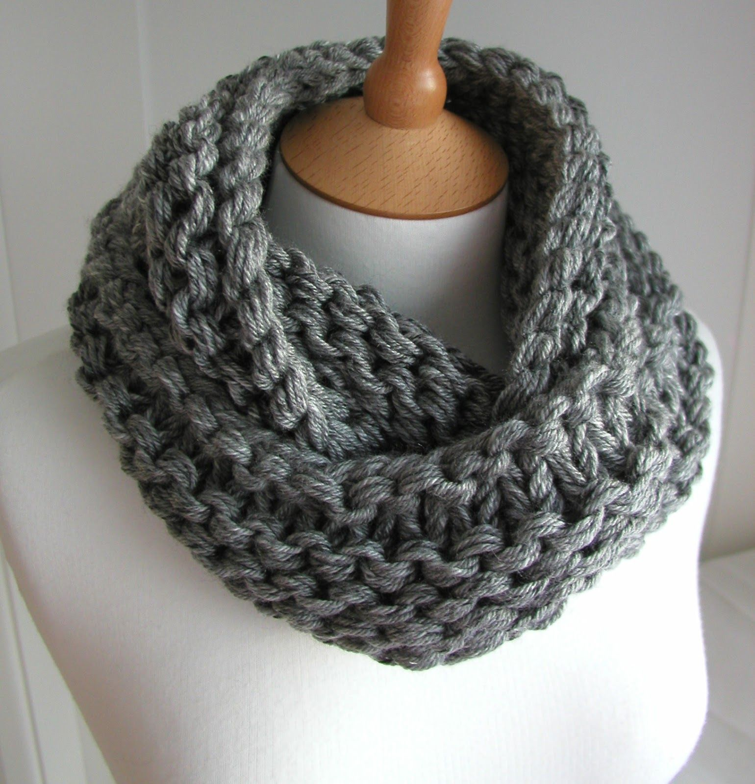 Hand Knitted Things: Steel Grey Chunky Circular Scarf Free Knitting ...