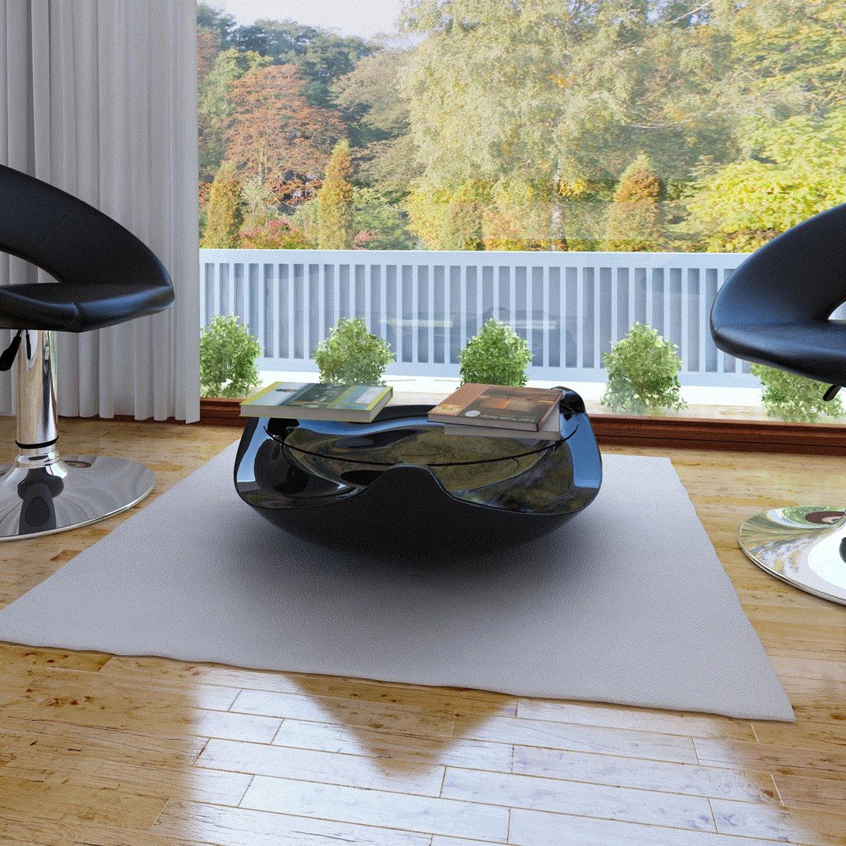 Table basse table de caf ronde noir fibre de verre a - Table basse petit prix ...