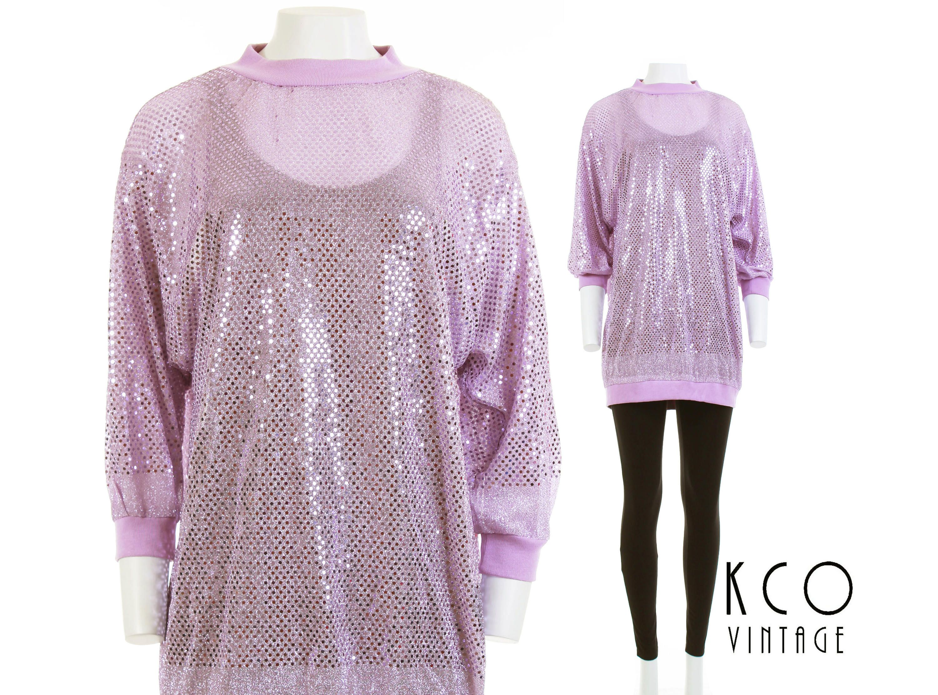Sequin Top Slouchy Shirt 80s Clothing Pink Lavender Lurex Top 90s ...