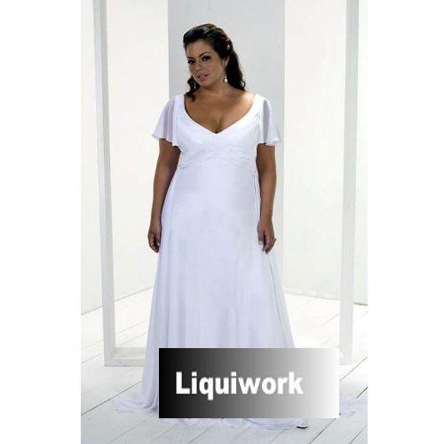 Petite Plus Size White Cap Sleeve Simple Second Wedding Engagement Dress SKU 120139