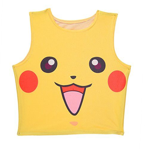 New Another Me Pokemon Pikachu Cute Yellow Vest Top Cosplay Costume Women Girls ** You can get more details by clicking on the image.