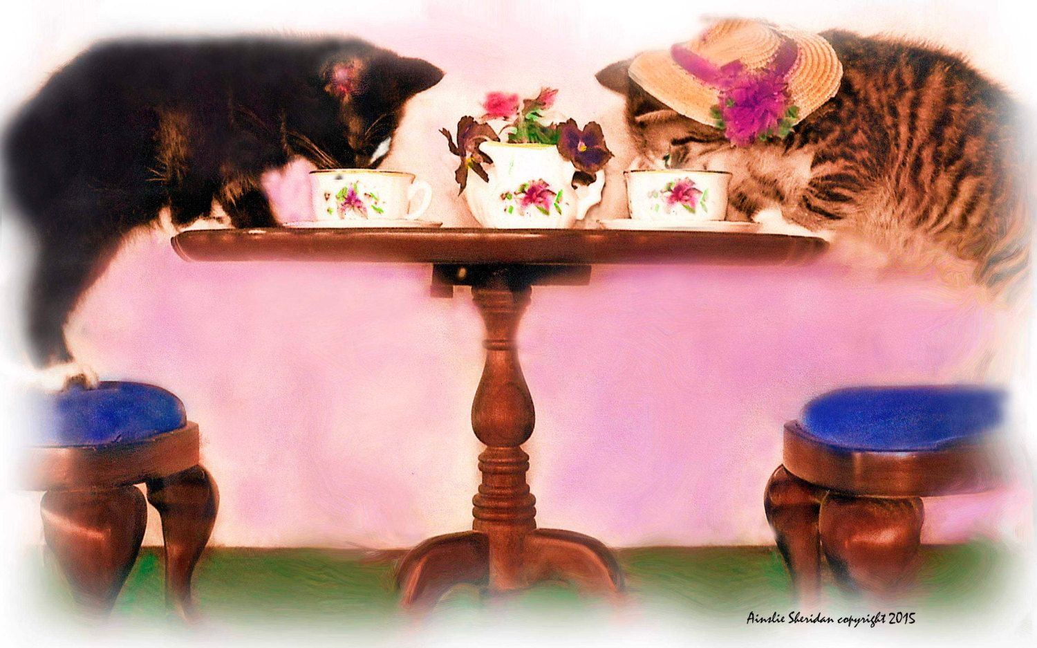 TEA FOR TWO:  Kitties, that is.  This digital photo was created by using Photoshop & Painter lending it the appearance of an oil  painting. by WINDFLOWERDIGITALART on Etsy