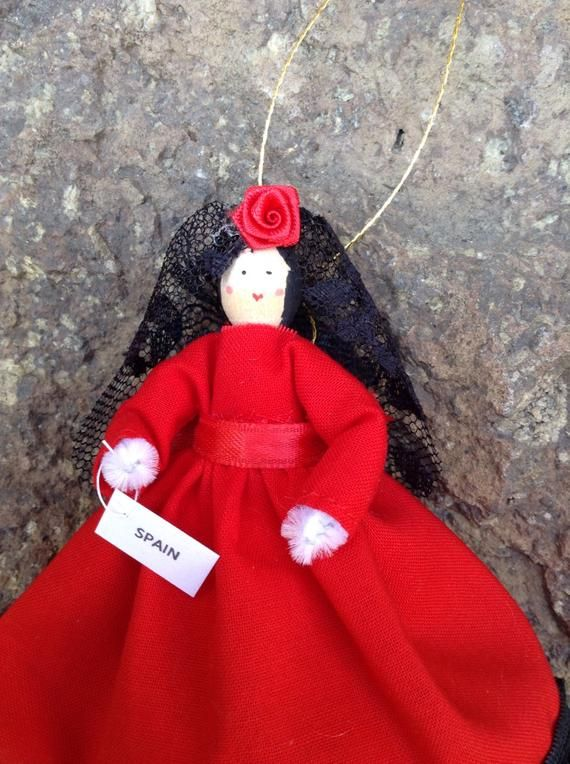Spain clothespin doll, Spanish doll ORNAMENT - red dress, flamenco dancer style dress, ready to ship #spanishdolls