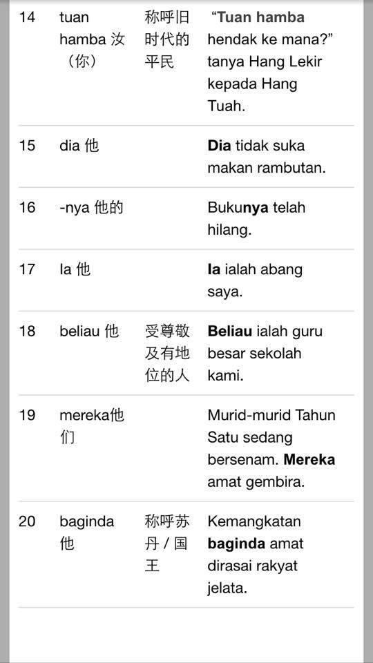 20 Kata Ganti Nama 中文解释 For Sjkc Malay Language Education Language