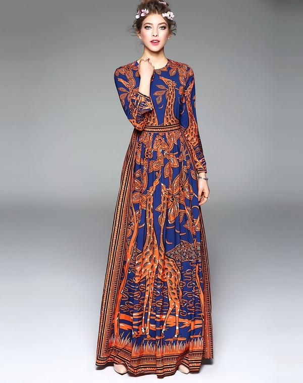 BOHO GIRAFFE PRINT MAXI DRESS  dfd812fa9b90