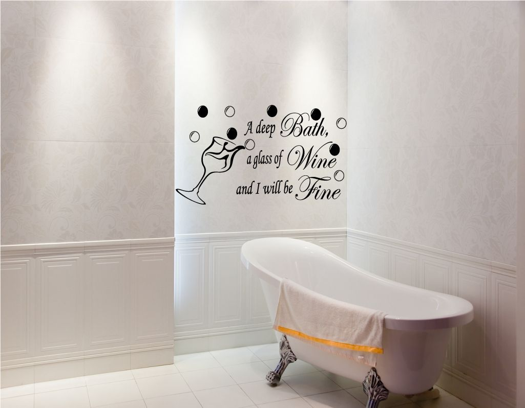 Bathroom wall decor quotes - Funny Quotes Wall Murals For Small Bathroom Decoration Ideas