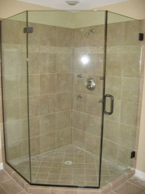 Neo angle shower enclosure with oil rubbed bronze hardware and