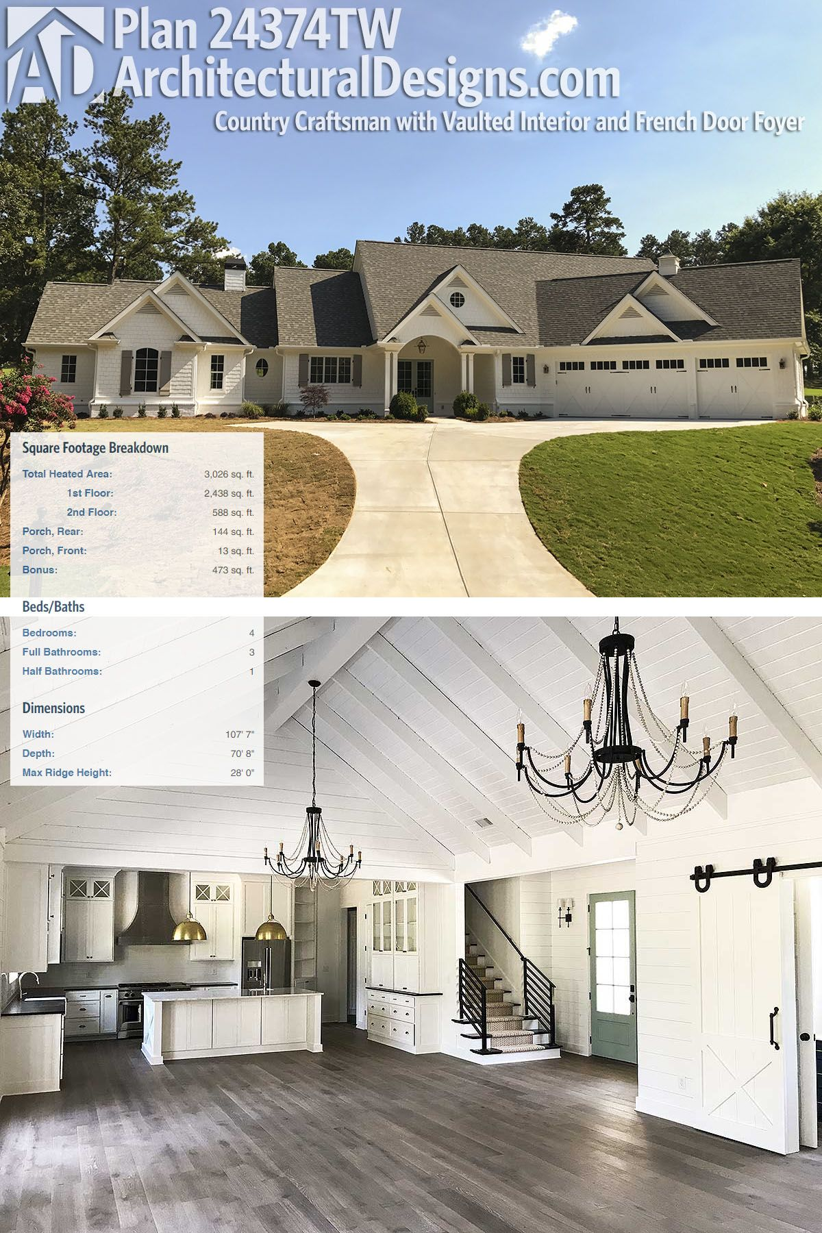 Plan TW Country Craftsman With Vaulted Interior And French - Craftsman house plans with 3 car garage