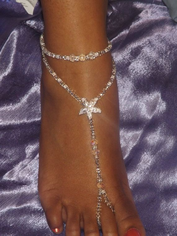 Crystal Foot Jewelry Wedding Starfish Jewelry Beach Wedding Barefoot