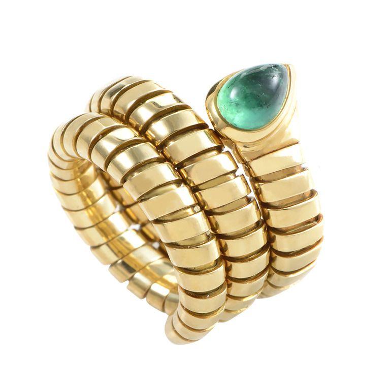 bulgari tubogas emerald gold snake ring