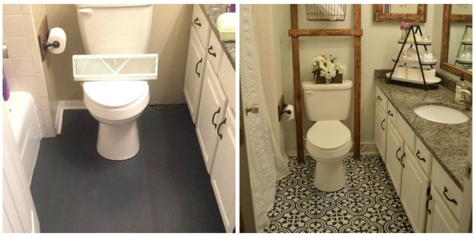 This Bathroom Floor Was Completely Transformed By Just Some Paint Painted Bathroom Floors Bathroom Flooring Painting Bathroom