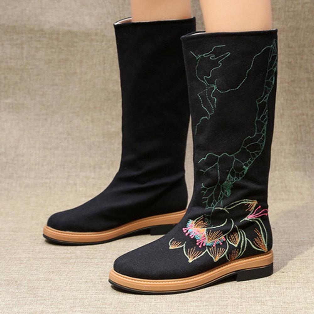 6b1e237fa1088 Lotus Embroidered Mid Calf Warm Fur Lining Round Toe Boots ...