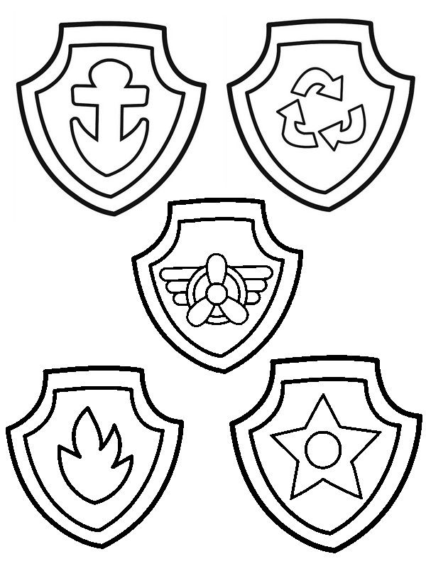 Badges of Paw Patrol Coloring Pages | Paw | Pinterest | Paw patrol ...