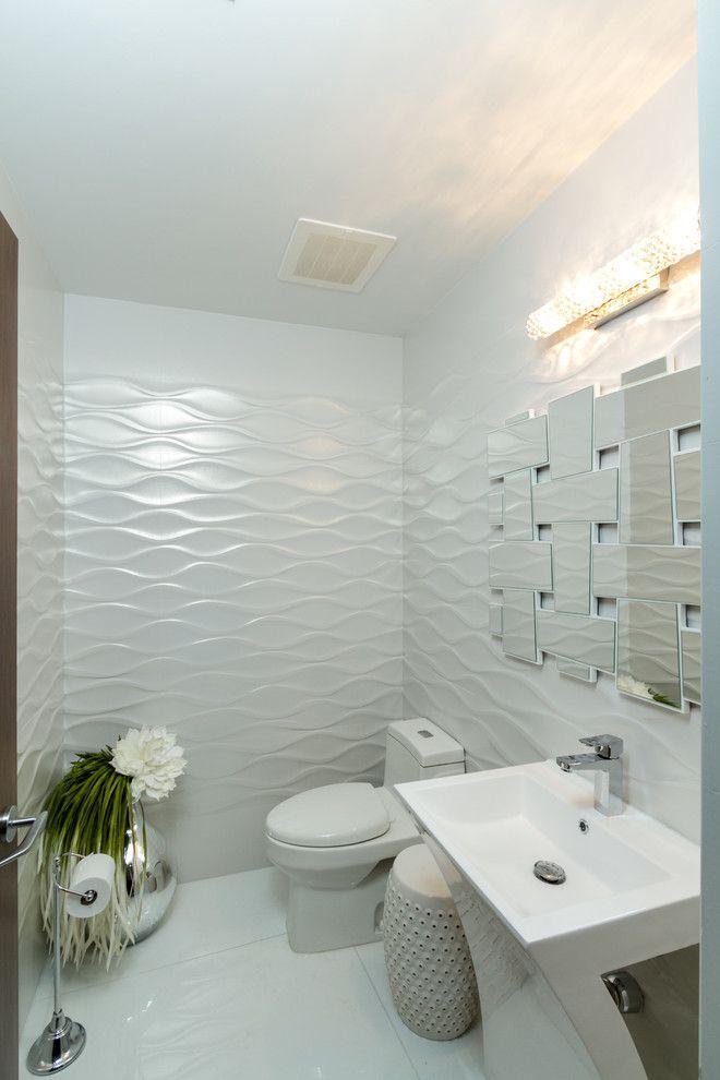 White garden stool powder room contemporary interesting ideas with ...