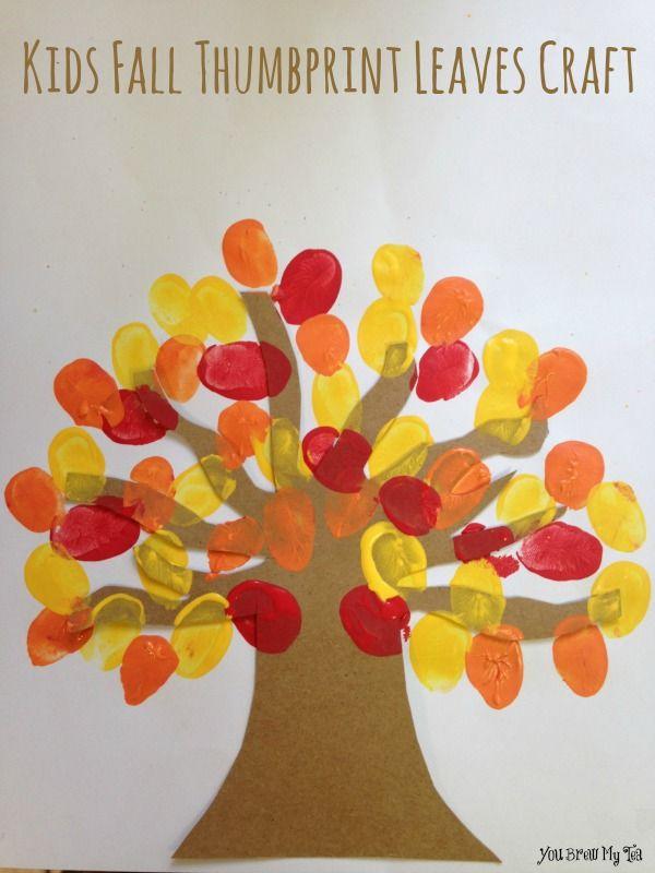 Kids fall thumbprint leaves craft kids crafts - Herbstdeko kindergarten ...