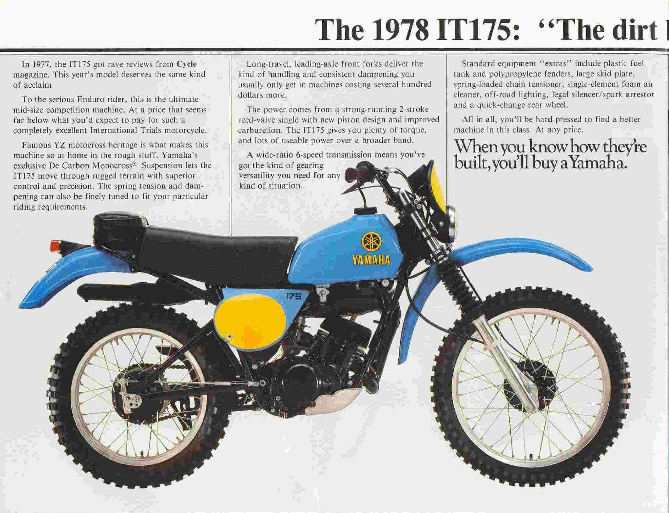 Yamaha It175d Yamaha Dirt Bikes Yamaha Cool Dirt Bikes