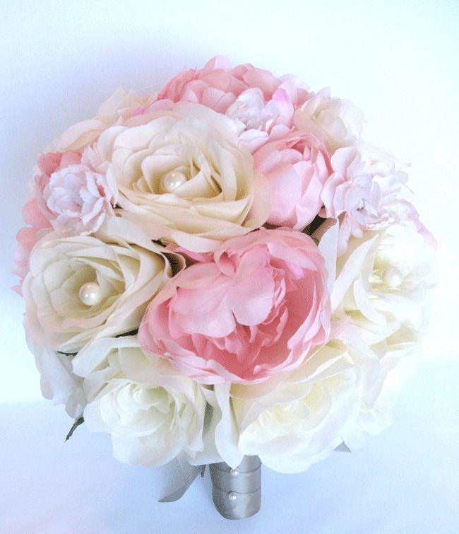 17 piece set wedding bouquets silk flower bridal bouquet light pink 17 piece set wedding bouquets silk flower bridal bouquet light pink cream silver silk flowers bridal bouquets and silk mightylinksfo