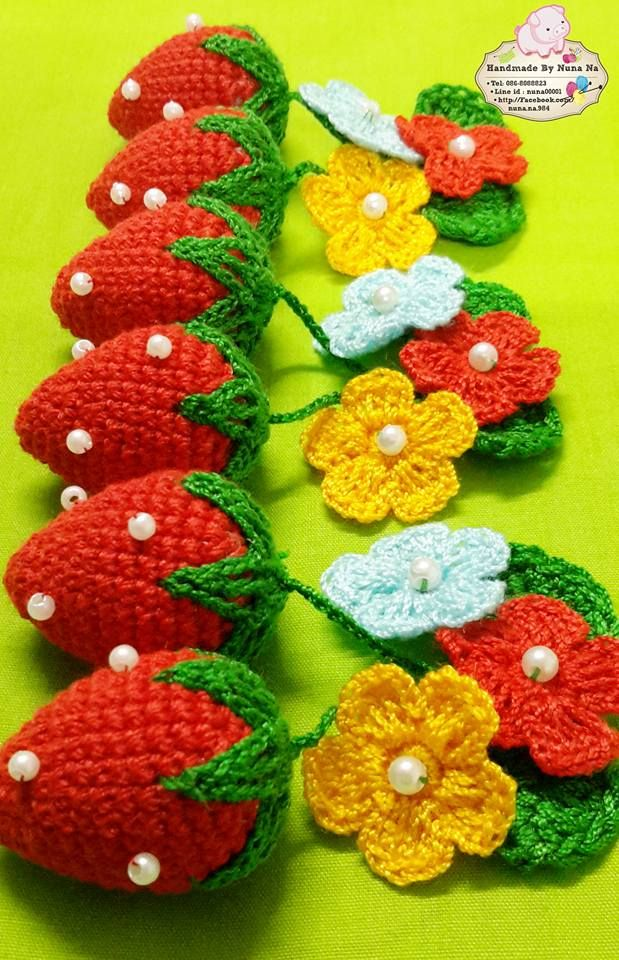 Morango Feito De Croche Enfeites De Croche Frutas De Croche