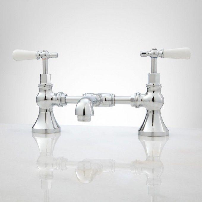 Monroe Bridge Bathroom Faucet  Porcelain Lever Handles  Faucet Beauteous Porcelain Handle Bathroom Faucet Design Decoration