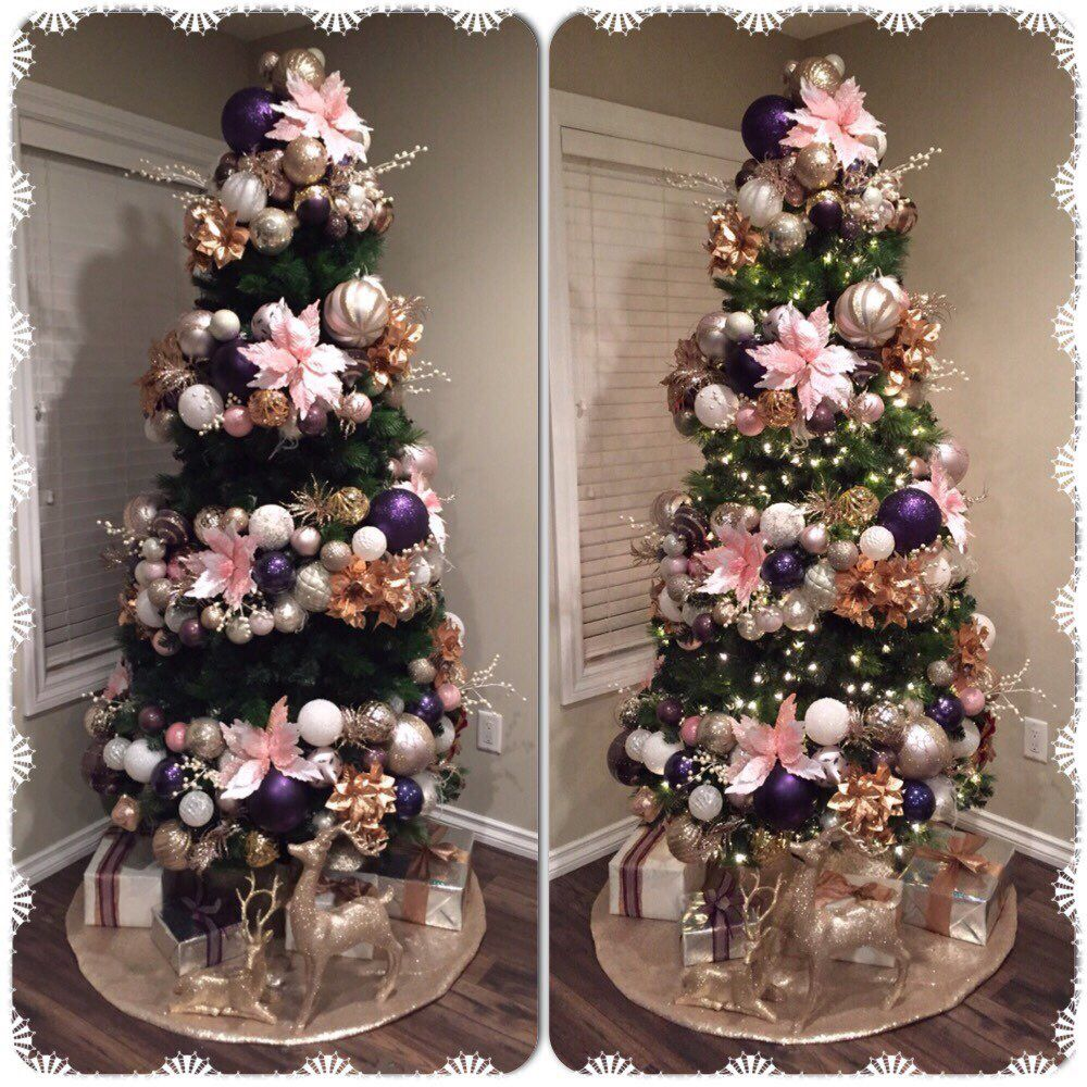 Pink Purple Rose Gold And White Ornaments Gold Christmas Decorations Rose Gold Christmas Rose Gold Christmas Tree