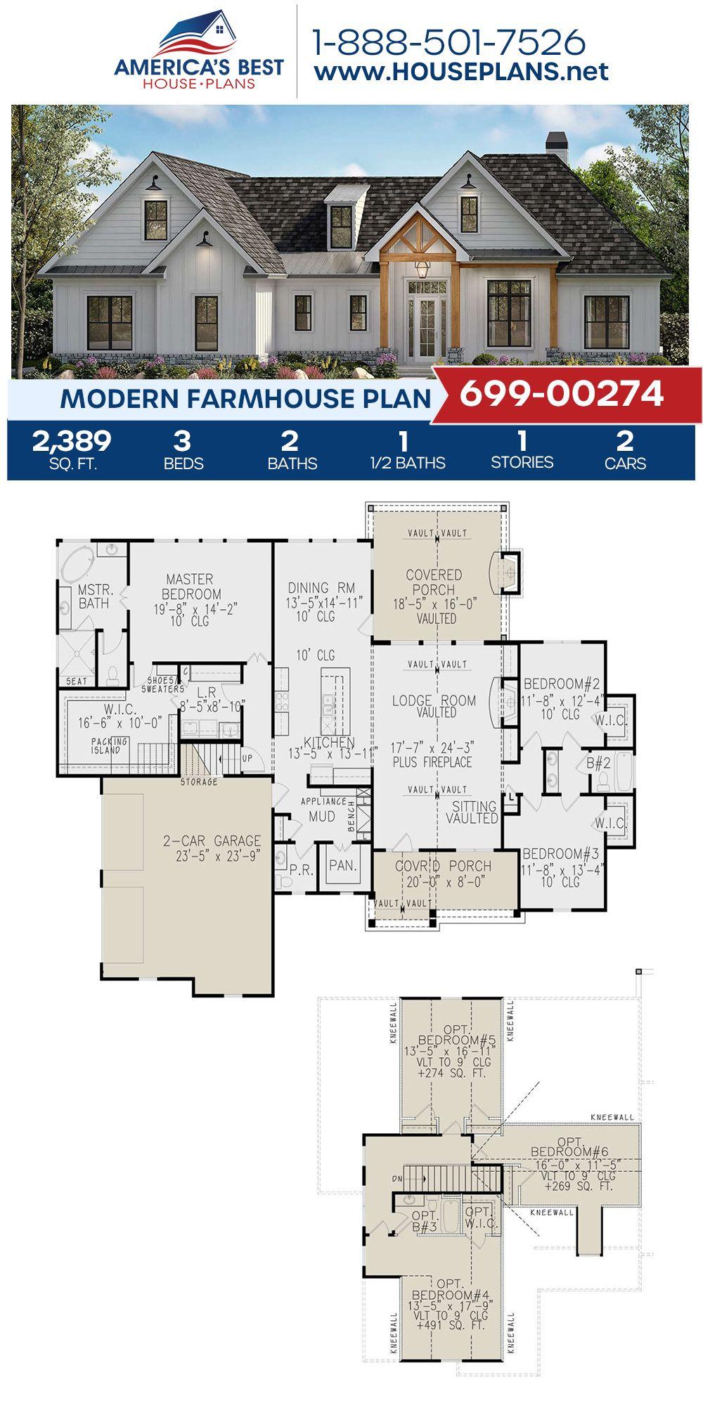 House Plan 699 00274 Modern Farmhouse Plan 2 389 Square Feet 3 Bedrooms 2 5 Bathrooms Modern Farmhouse Plans Farmhouse Plans House Plans Farmhouse