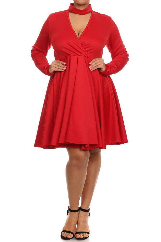 Plus Size Surplice Cutout Neckline Skater Dress – PLUSSIZEFIX