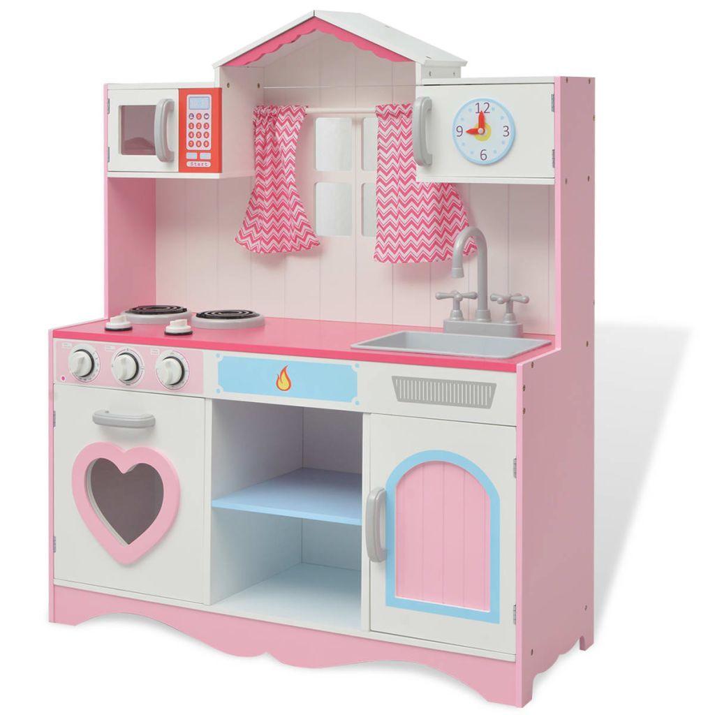 vidaXL Toy Kitchen 82x30x100 cm Wood Pink and White
