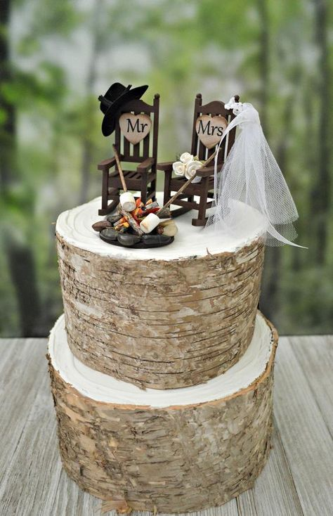 Miniature rocking chair campfire marshmallow wedding cake topper camping roasting marshmallow bride groom 6 inch cake small western country