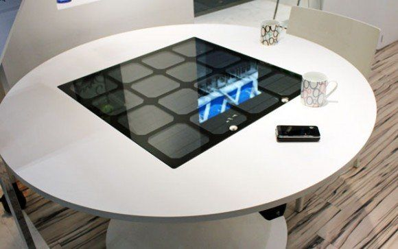 solar-powered wireless charger table.