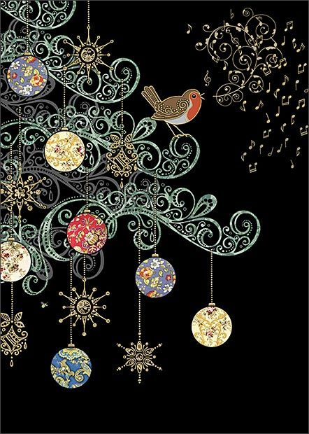robin tree christmas card design by jane crowther for bug art greeting cards - Art Christmas Cards