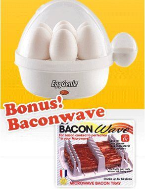 Egg Genie Electric Egg Cooker w/Bonus Baconwave - http://sleepychef.com/egg-genie-electric-egg-cooker-wbonus-baconwave/