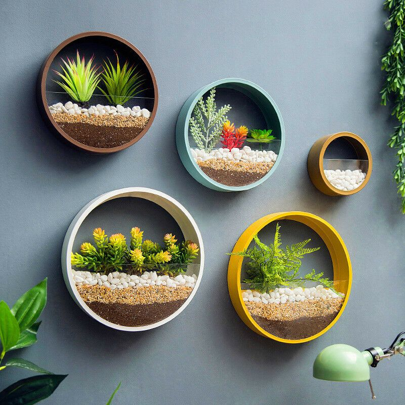 Details about Wall Decor Wall Vase Planter for Succulents Herbs Round Hanging Vases 1PCS New