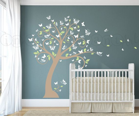 nursery blossom butterfly tree wall decal, tree with butterflies and
