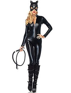 Vinyl leather catwoman costume maks and whip are not included Categories Sexy Halloween Costumes Clothing and DIY Costumes Item is of one size fits most  sc 1 st  Pinterest & Dark Night Batman Catwoman Black PU Leather Womenu0027s Cosplay Costume ...