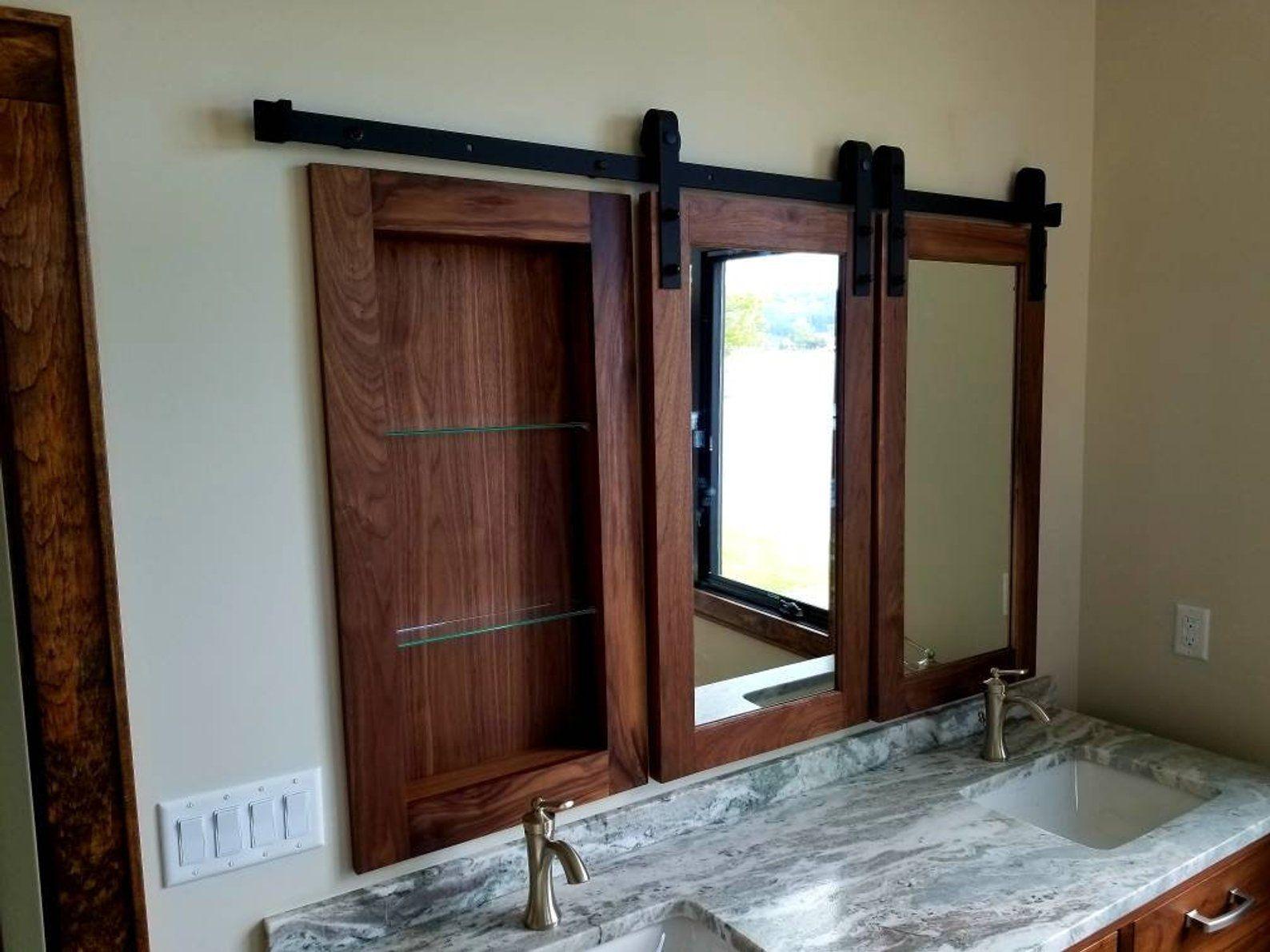Barn Door Walnut Medicine Cabinet Small Bathroom Remodel Bathrooms Remodel Small Bathroom
