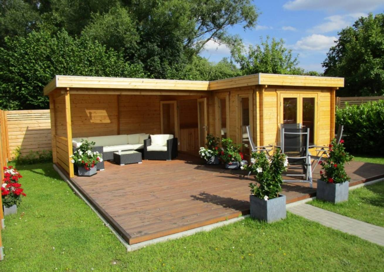 Flachdach Gartenhaus Modell Quinta ISO Flachdach