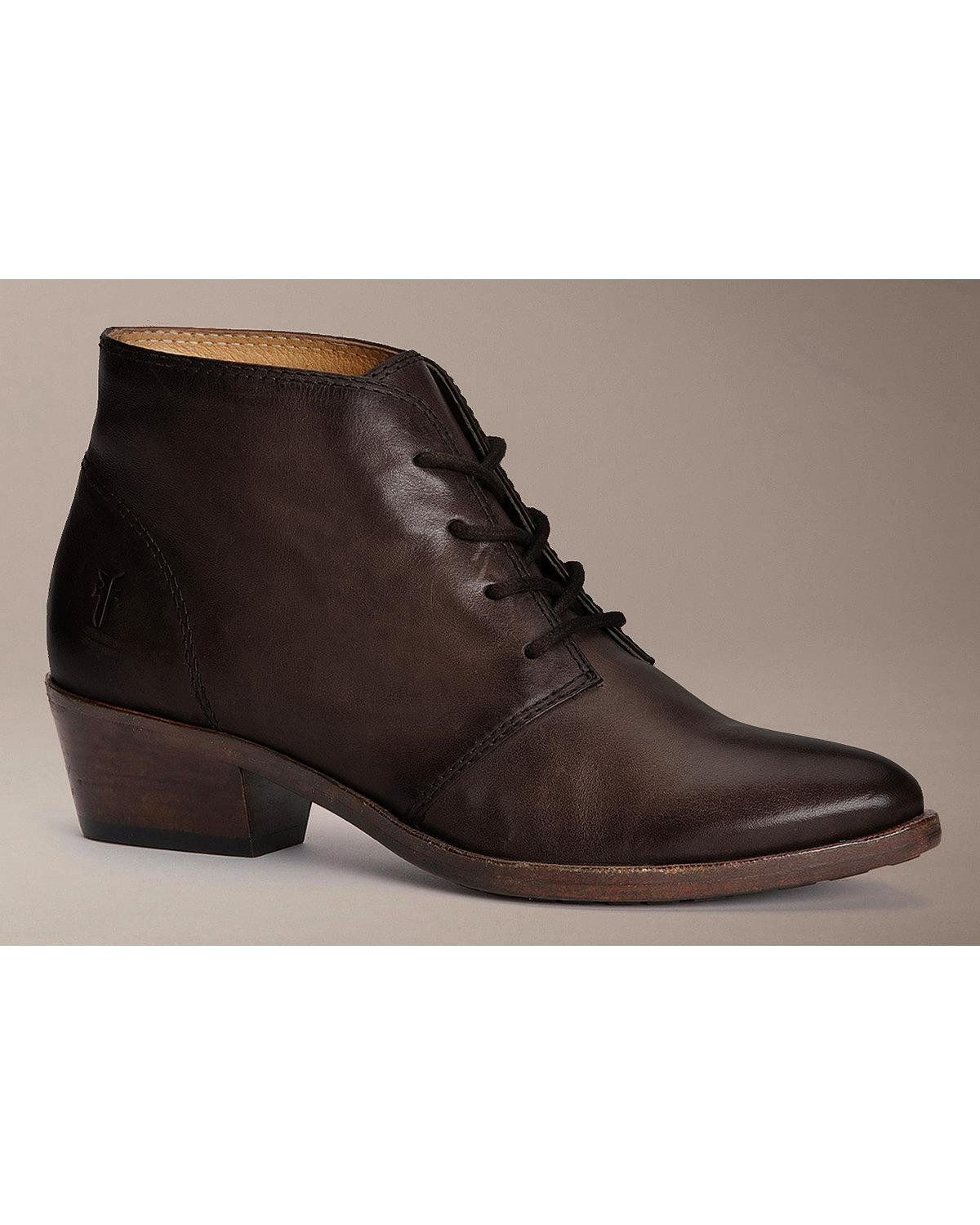 FRYE Women's Ruby Chukka Boot, Charcoal, 7 M US. Almond-toe chukka boot with leather upper featuring lace front with blind eyelets and stacked heel. Lug-style outsole.
