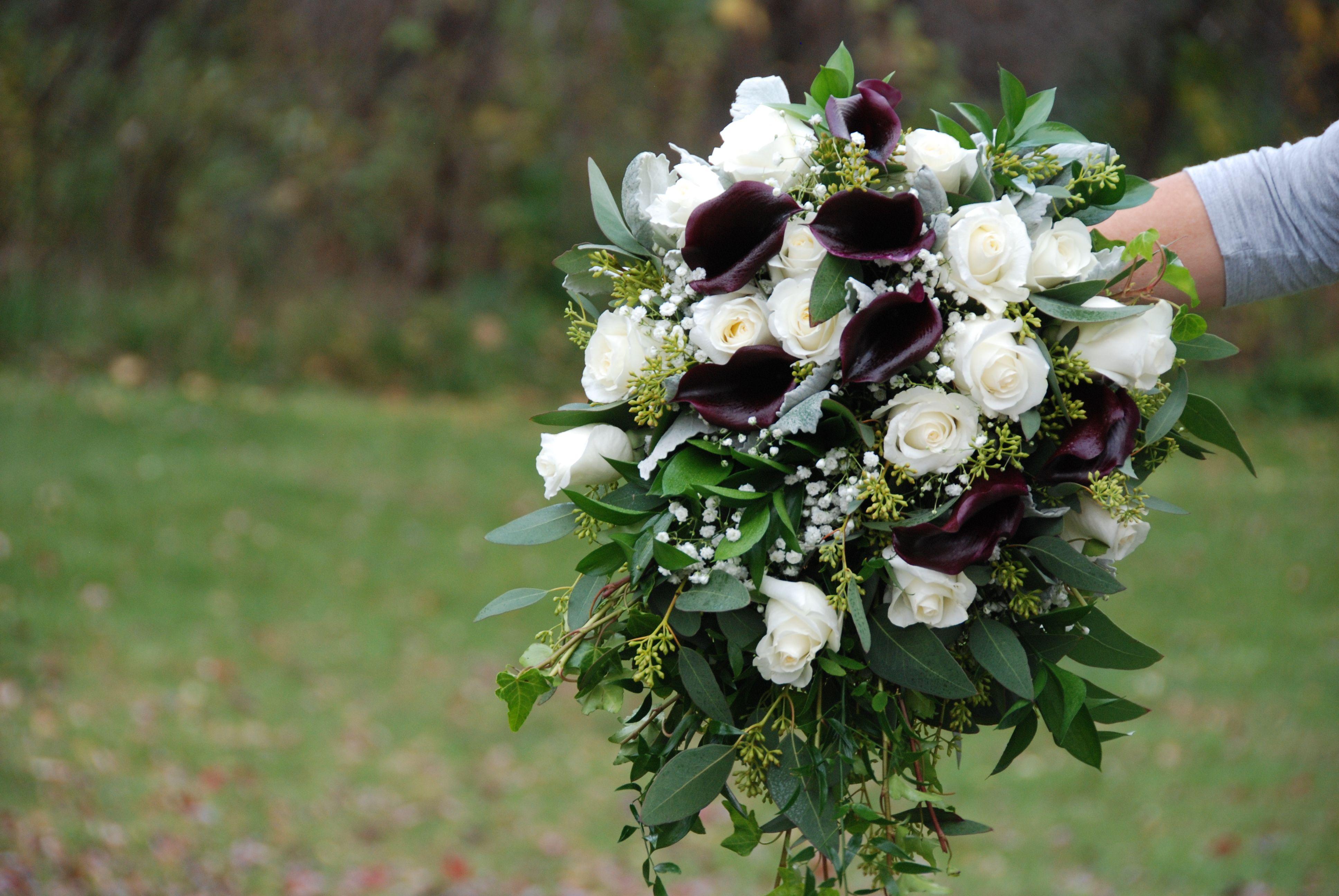 Bridal Bouquet White Roses Purple Calla Lilies Ivy Seeded Eucalyptus Italian