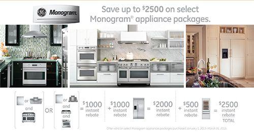 Ge Monogram Rebates At Top Line Appliance Packages Monogram Appliances Appliance Center