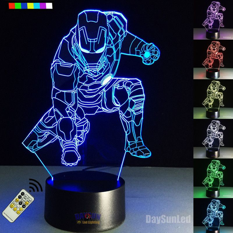 2017 Remote 3d Lamp Avengers Marvel Led Night Light Color Changing Iron Man 3d Illusion Night Lamp Table Desk L 3d Led Night Light Night Light Night Light Lamp